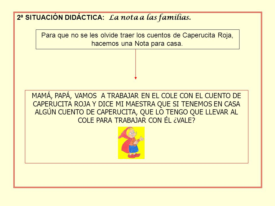 2ª SITUACIÓN DIDÁCTICA: La nota a las familias.