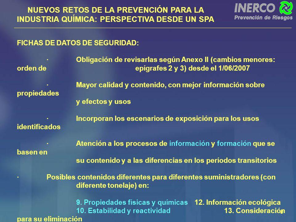 NUEVOS RETOS DE LA PREVENCIÓN PARA LA INDUSTRIA QUÍMICA: PERSPECTIVA DESDE UN SPA