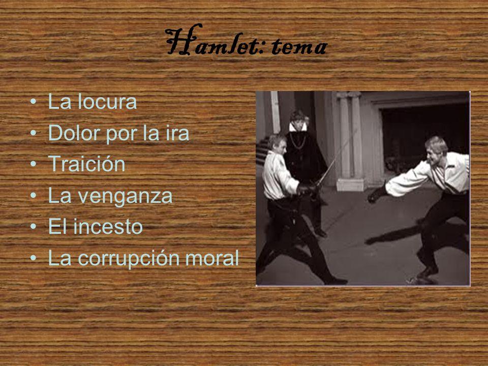 Hamlet: tema La locura Dolor por la ira Traición La venganza