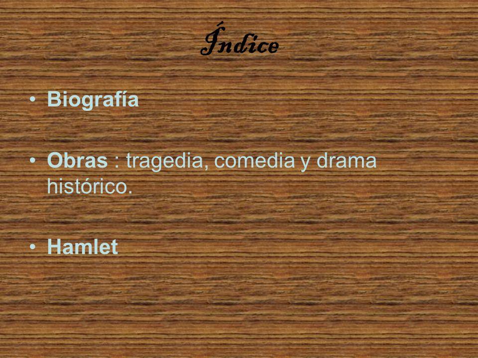 Índice Biografía Obras : tragedia, comedia y drama histórico. Hamlet