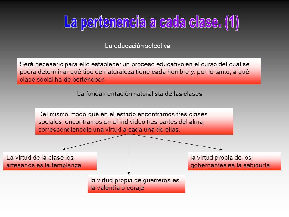 La pertenencia a cada clase. (1)