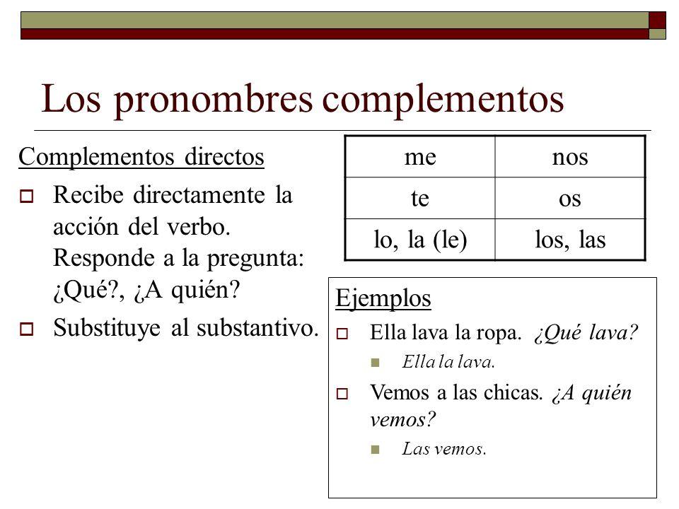 Los pronombres complementos
