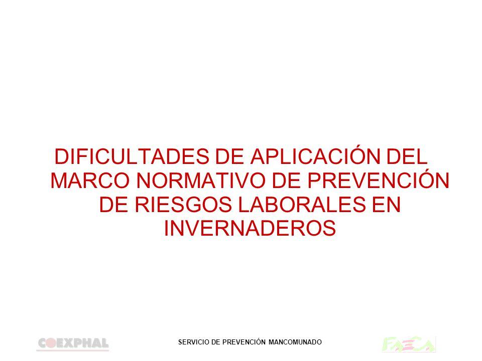 DIFICULTADES DE APLICACIÓN DEL MARCO NORMATIVO DE PREVENCIÓN DE RIESGOS LABORALES EN INVERNADEROS