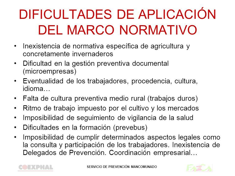 DIFICULTADES DE APLICACIÓN DEL MARCO NORMATIVO