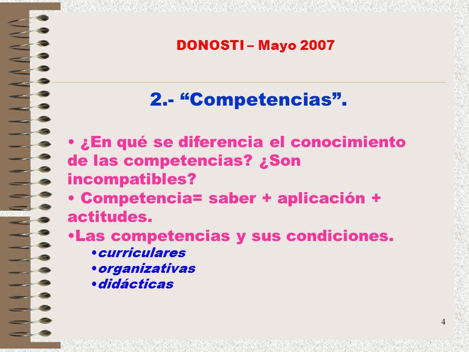DONOSTI – Mayo 2007 2.- Competencias . ¿En qué se diferencia el conocimiento de las competencias ¿Son incompatibles