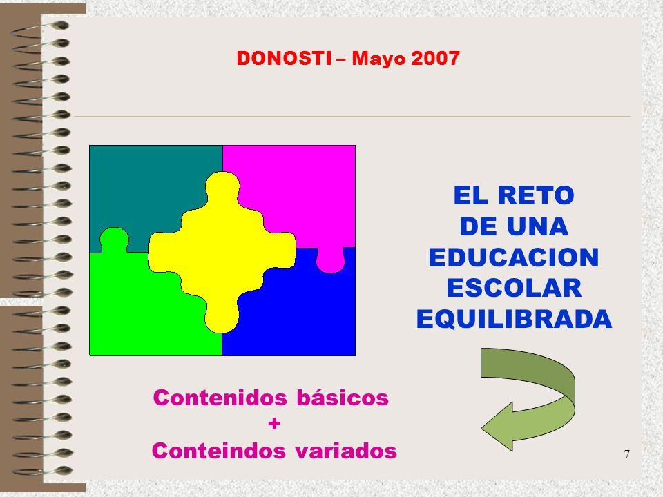 EL RETO DE UNA EDUCACION ESCOLAR EQUILIBRADA Contenidos básicos +