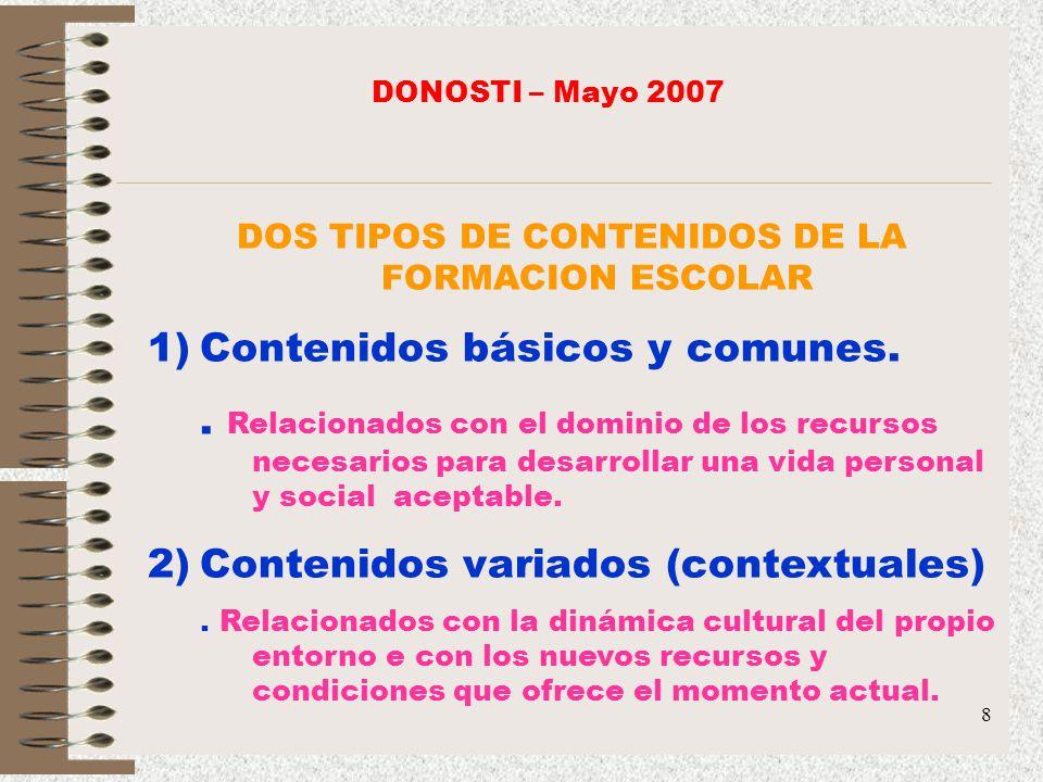 DOS TIPOS DE CONTENIDOS DE LA FORMACION ESCOLAR