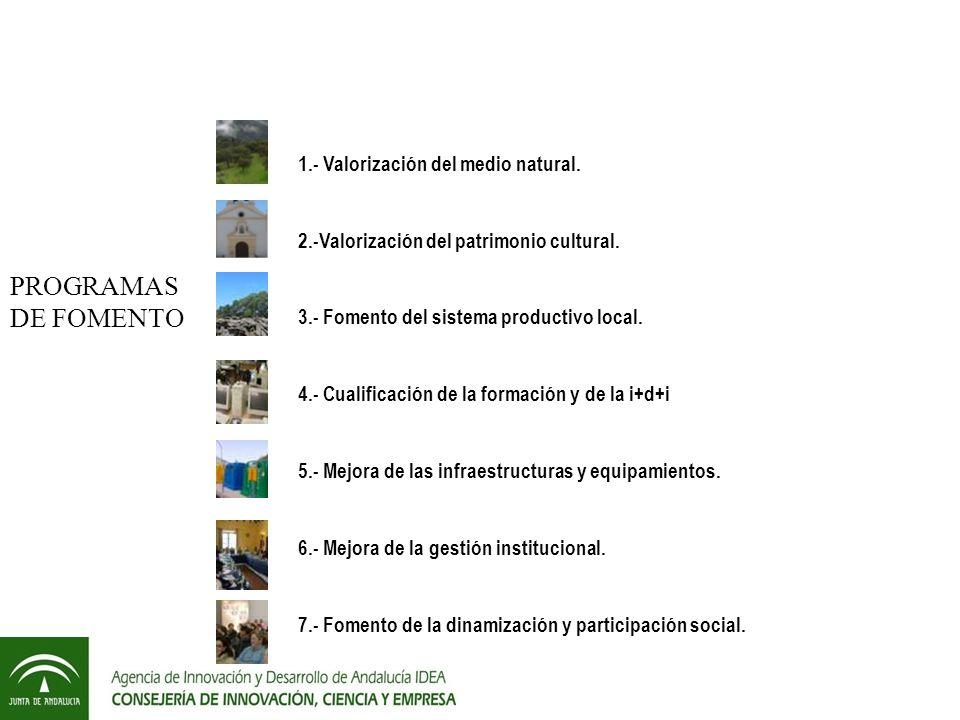 PROGRAMAS DE FOMENTO 1.- Valorización del medio natural.