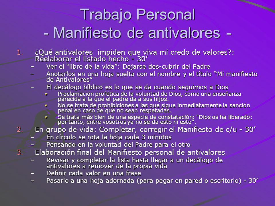 Trabajo Personal - Manifiesto de antivalores -