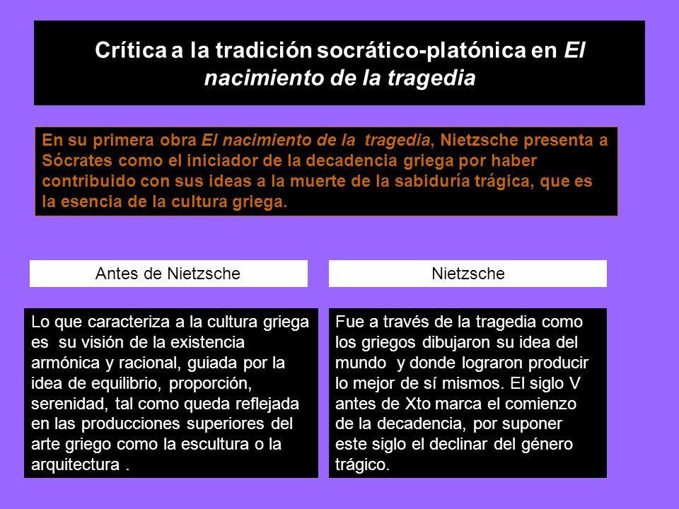 Crítica a la tradición socrático-platónica en El nacimiento de la tragedia