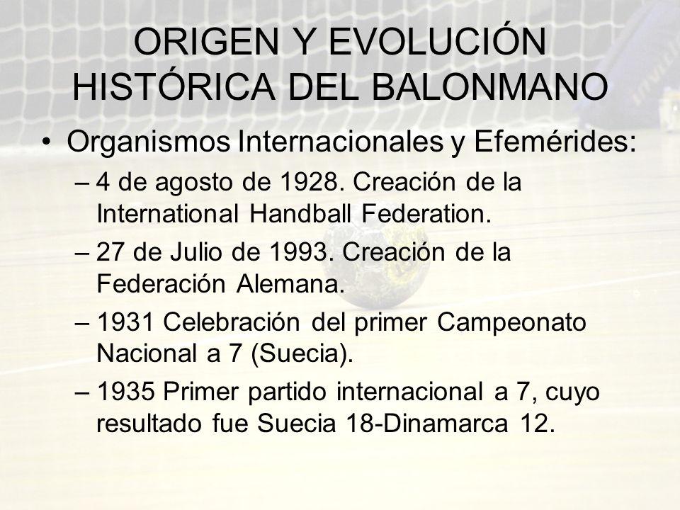 ORIGEN Y EVOLUCIÓN HISTÓRICA DEL BALONMANO