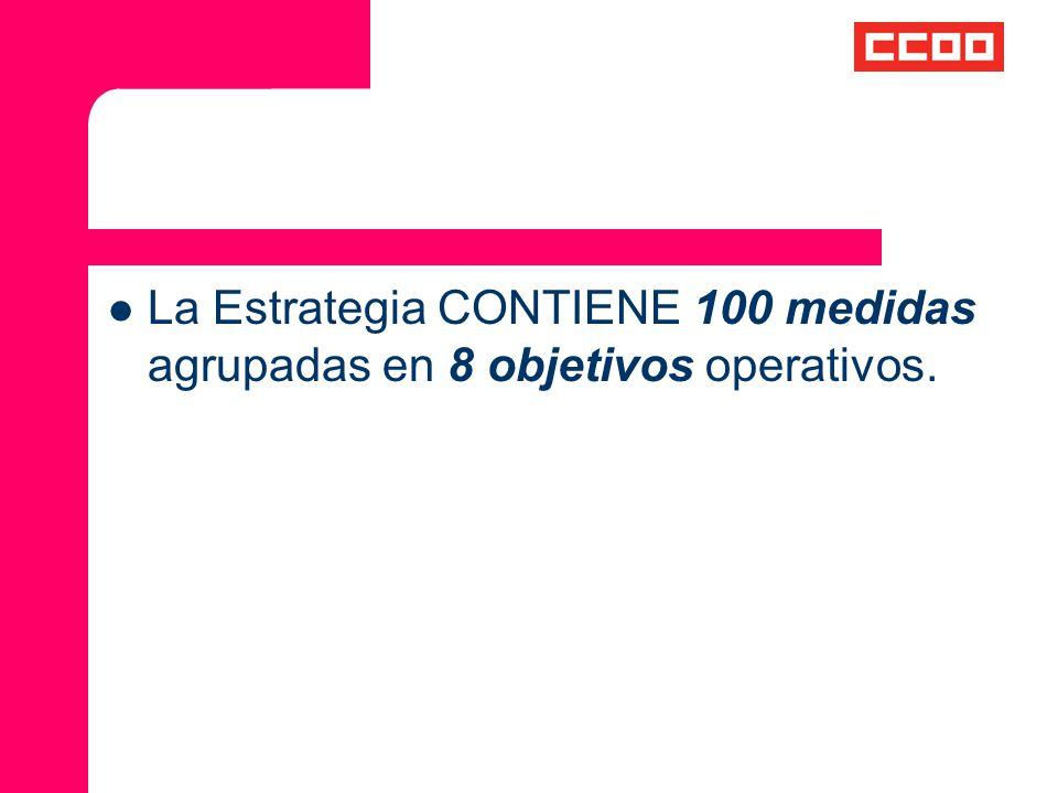 La Estrategia CONTIENE 100 medidas agrupadas en 8 objetivos operativos.