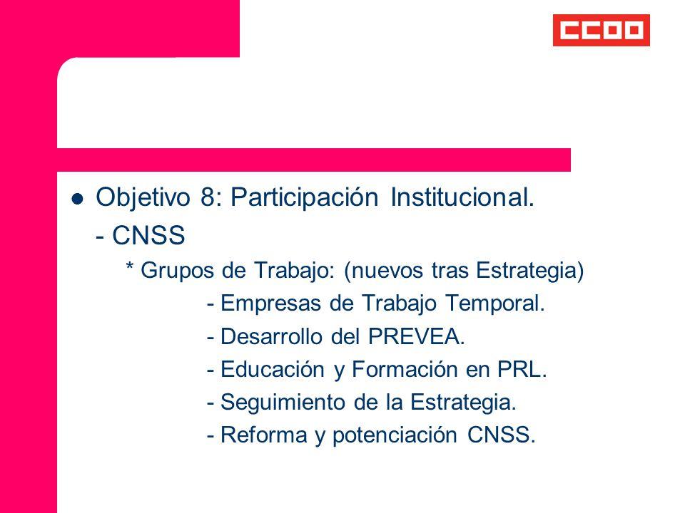 Objetivo 8: Participación Institucional. - CNSS