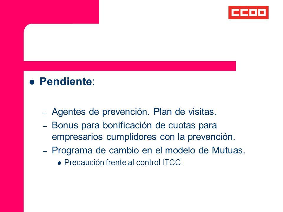 Pendiente: Agentes de prevención. Plan de visitas.