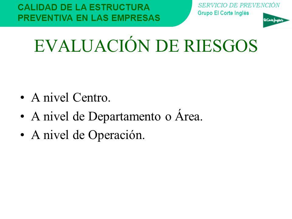 EVALUACIÓN DE RIESGOS A nivel Centro. A nivel de Departamento o Área.