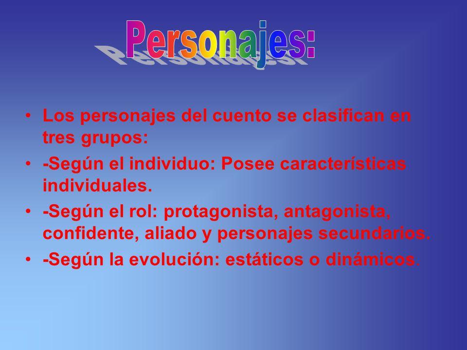 Personajes: Los personajes del cuento se clasifican en tres grupos: