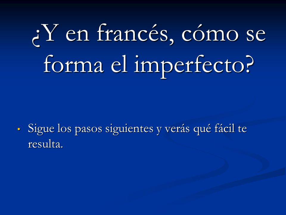 ¿Y en francés, cómo se forma el imperfecto