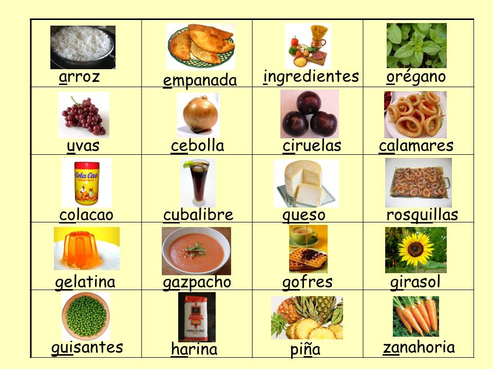 arroz ingredientes. orégano. empanada. uvas. cebolla. ciruelas. calamares. colacao. cubalibre.