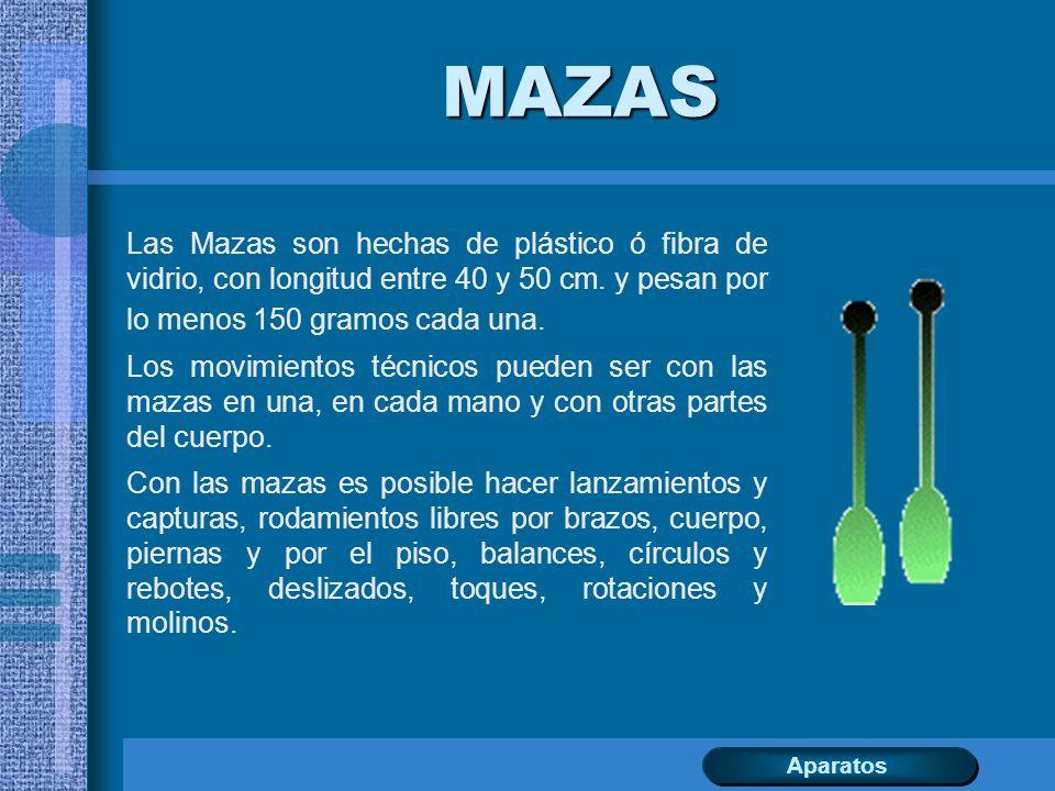 MAZAS Las Mazas son hechas de plástico ó fibra de vidrio, con longitud entre 40 y 50 cm. y pesan por lo menos 150 gramos cada una.