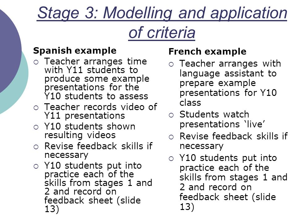 Stage 3: Modelling and application of criteria