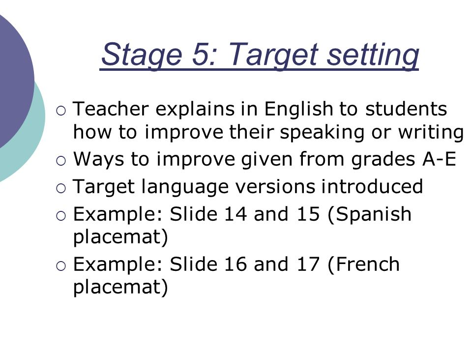 Stage 5: Target setting Teacher explains in English to students how to improve their speaking or writing.