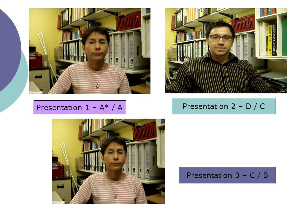 Presentation 2 – D / C Presentation 1 – A* / A Presentation 3 – C / B