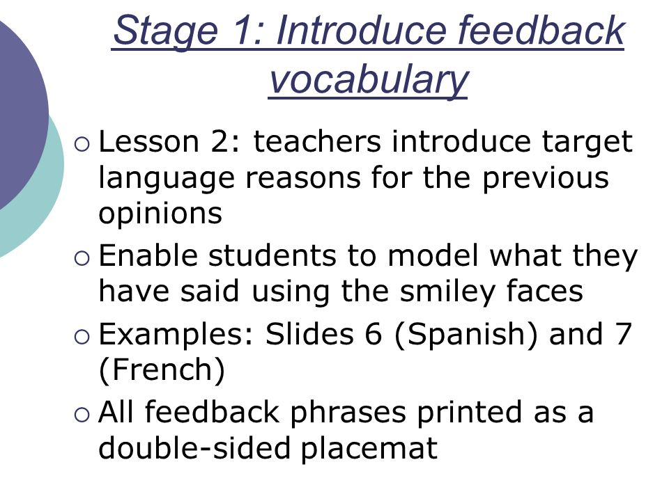Stage 1: Introduce feedback vocabulary