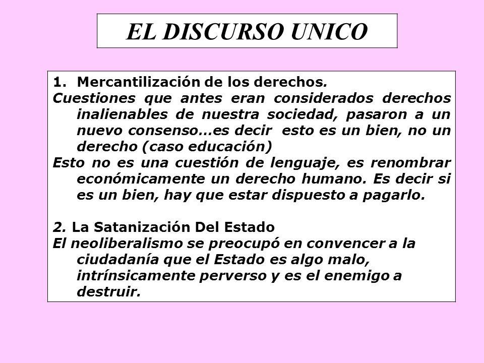 EL DISCURSO UNICO Mercantilización de los derechos.