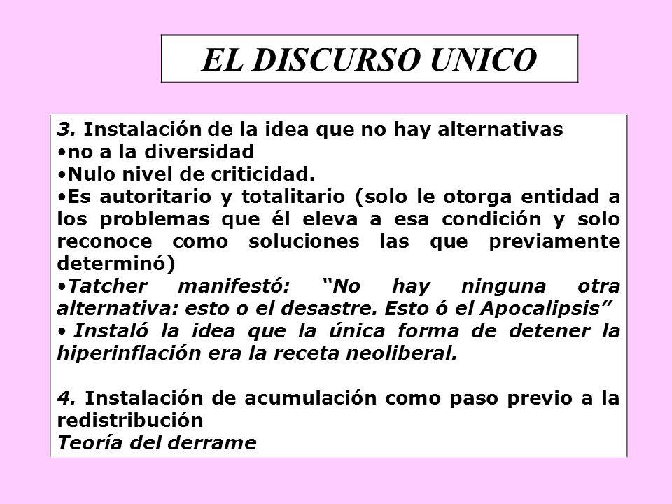 EL DISCURSO UNICO 3. Instalación de la idea que no hay alternativas