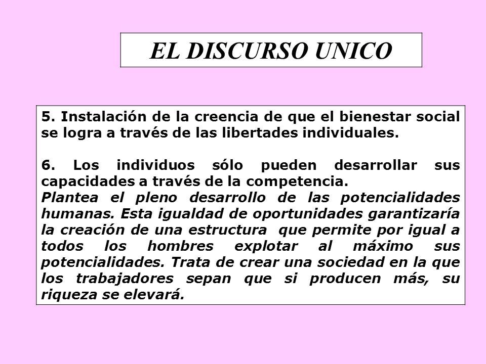 EL DISCURSO UNICO 5. Instalación de la creencia de que el bienestar social se logra a través de las libertades individuales.