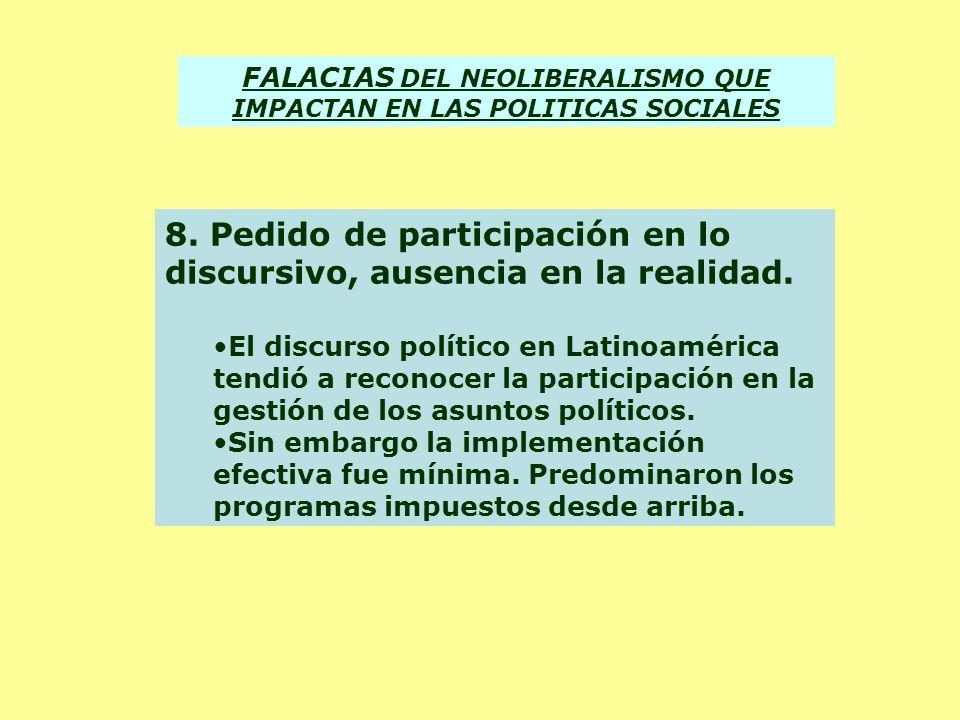 FALACIAS DEL NEOLIBERALISMO QUE IMPACTAN EN LAS POLITICAS SOCIALES