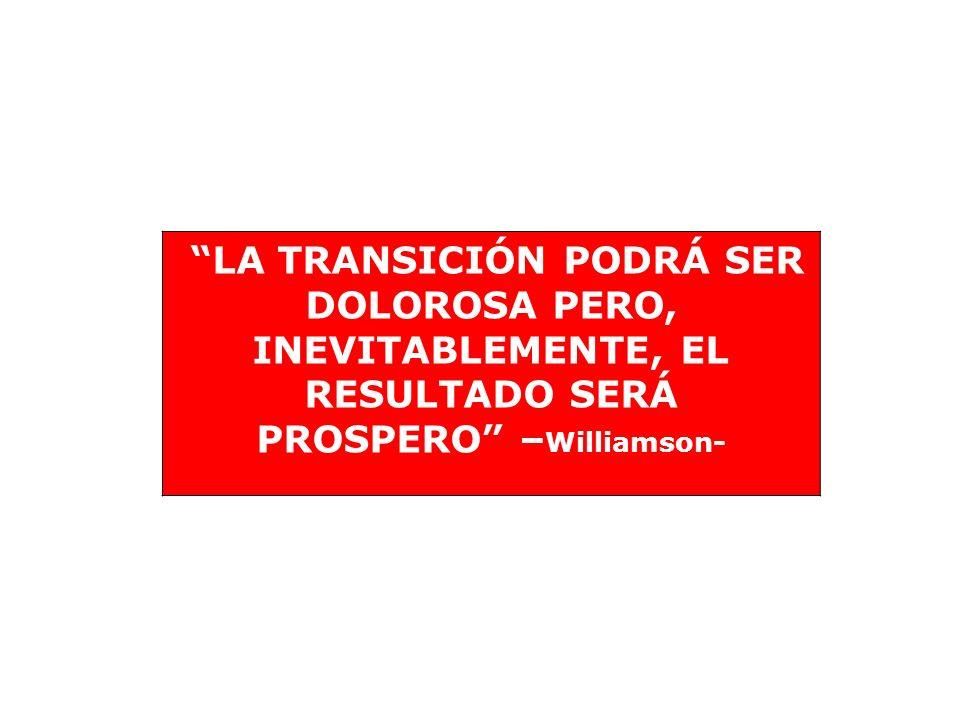 LA TRANSICIÓN PODRÁ SER DOLOROSA PERO, INEVITABLEMENTE, EL RESULTADO SERÁ PROSPERO –Williamson-