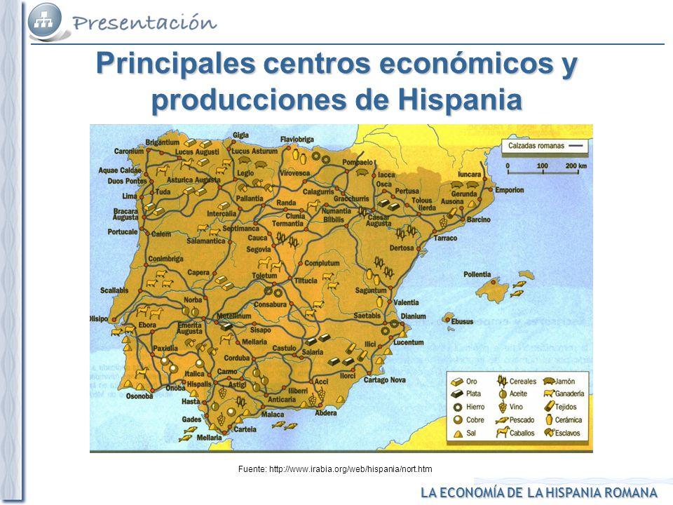 Principales centros económicos y producciones de Hispania