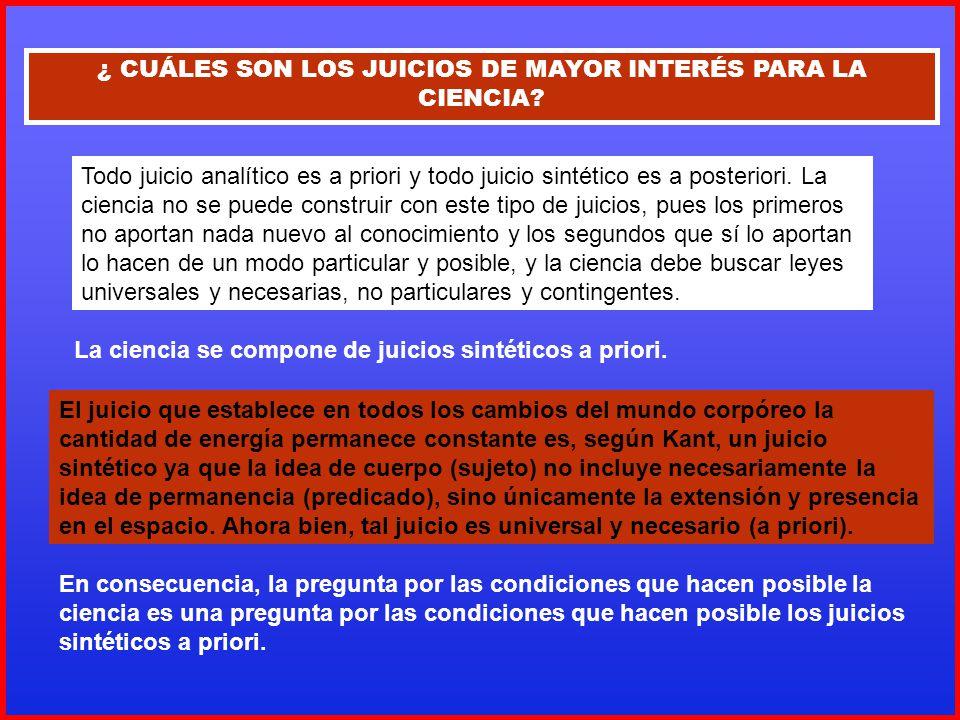 ¿ CUÁLES SON LOS JUICIOS DE MAYOR INTERÉS PARA LA CIENCIA