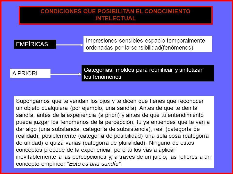 CONDICIONES QUE POSIBILITAN EL CONOCIMIENTO INTELECTUAL