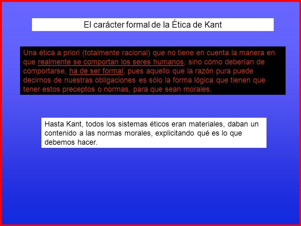 El carácter formal de la Ética de Kant