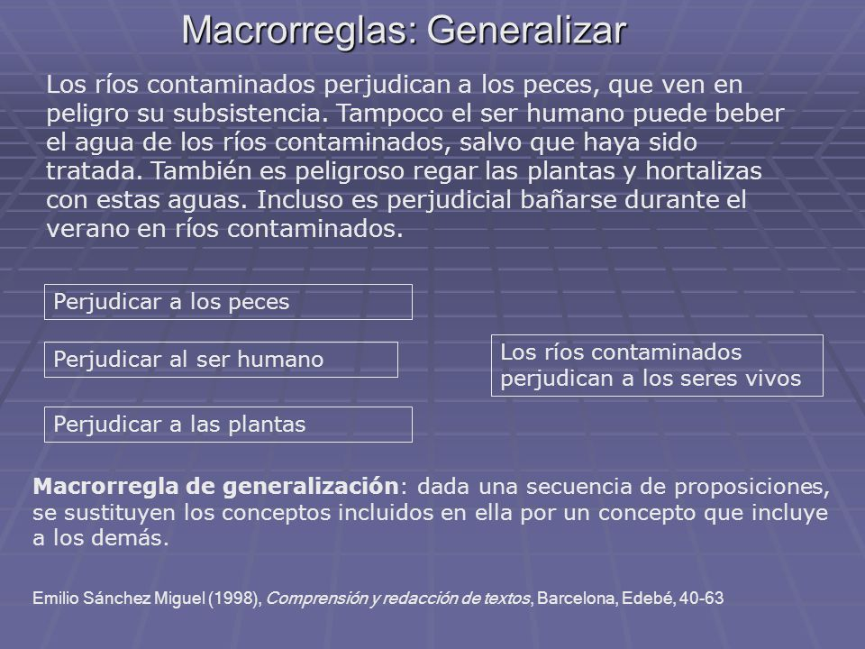 Macrorreglas: Generalizar