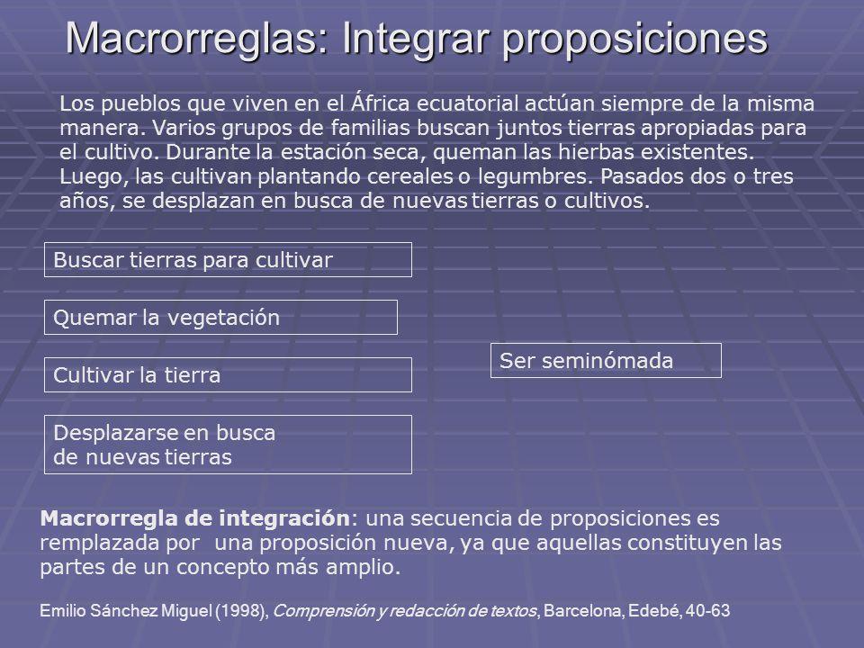 Macrorreglas: Integrar proposiciones