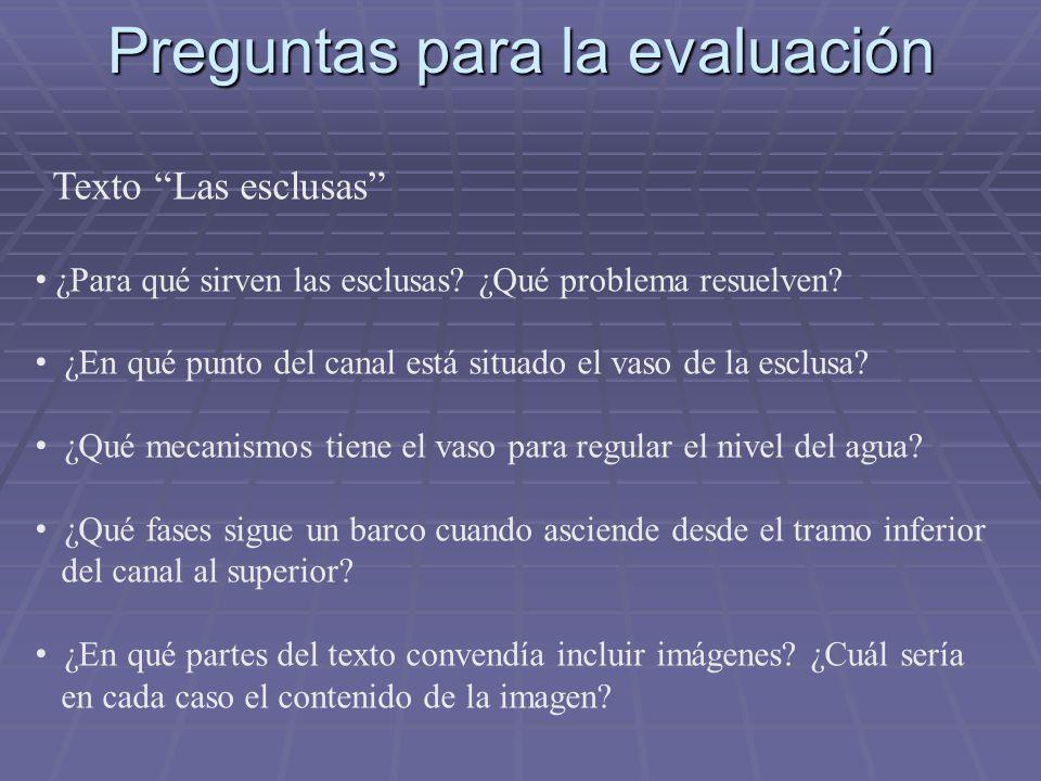 Preguntas para la evaluación