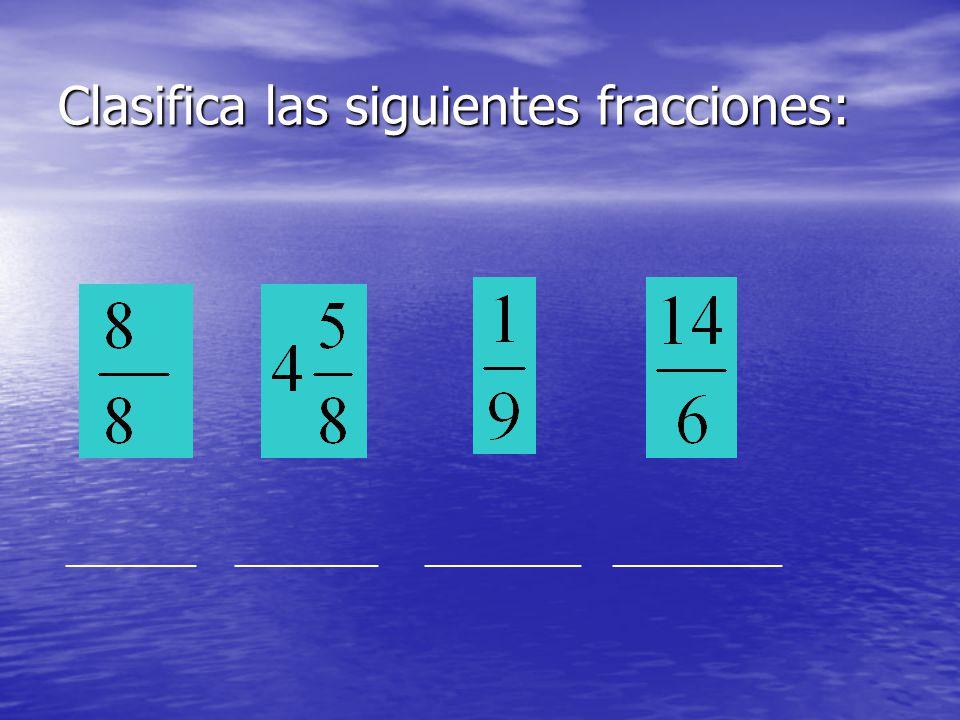 Clasifica las siguientes fracciones: