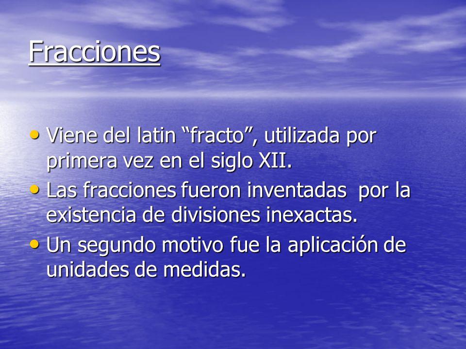 Fracciones Viene del latin fracto , utilizada por primera vez en el siglo XII.
