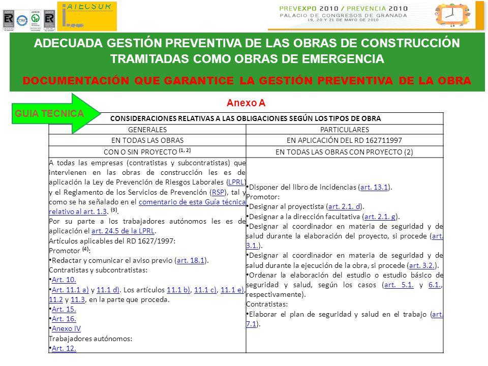 ADECUADA GESTIÓN PREVENTIVA DE LAS OBRAS DE CONSTRUCCIÓN TRAMITADAS COMO OBRAS DE EMERGENCIA
