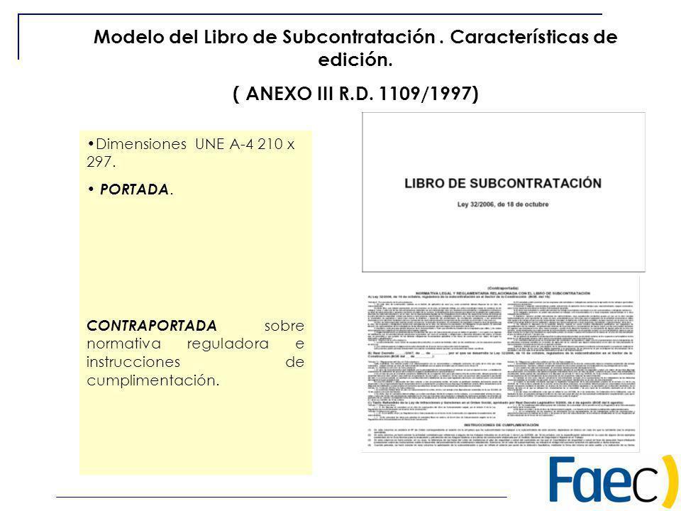 Modelo del Libro de Subcontratación . Características de edición.