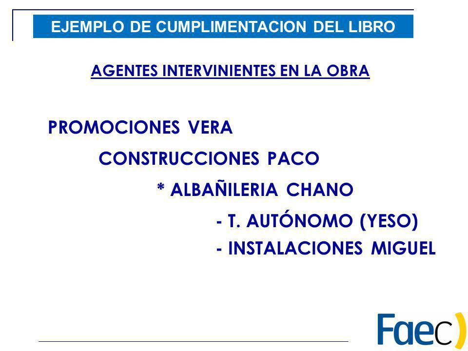 EJEMPLO DE CUMPLIMENTACION DEL LIBRO AGENTES INTERVINIENTES EN LA OBRA