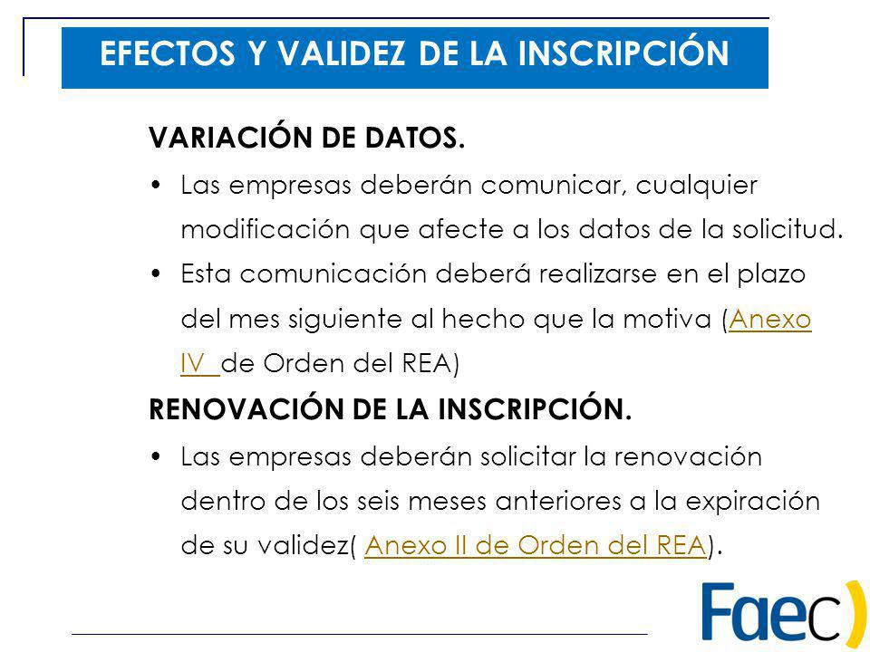 EFECTOS Y VALIDEZ DE LA INSCRIPCIÓN