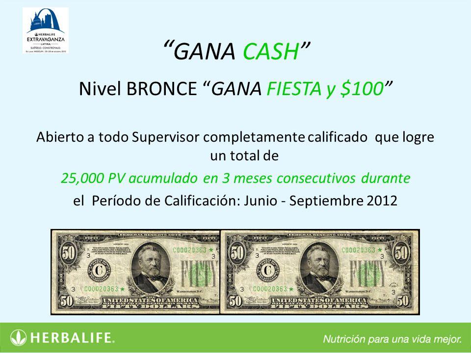 GANA CASH Nivel BRONCE GANA FIESTA y $100