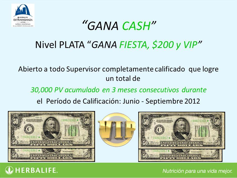 GANA CASH Nivel PLATA GANA FIESTA, $200 y VIP