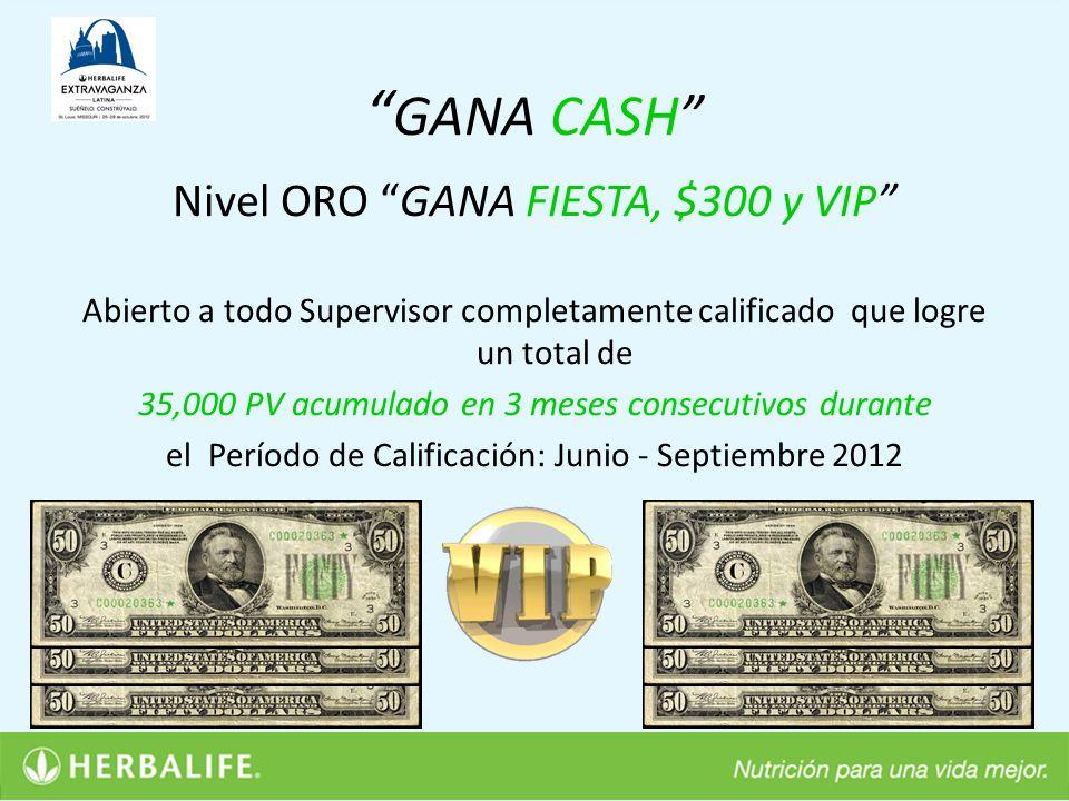 GANA CASH Nivel ORO GANA FIESTA, $300 y VIP
