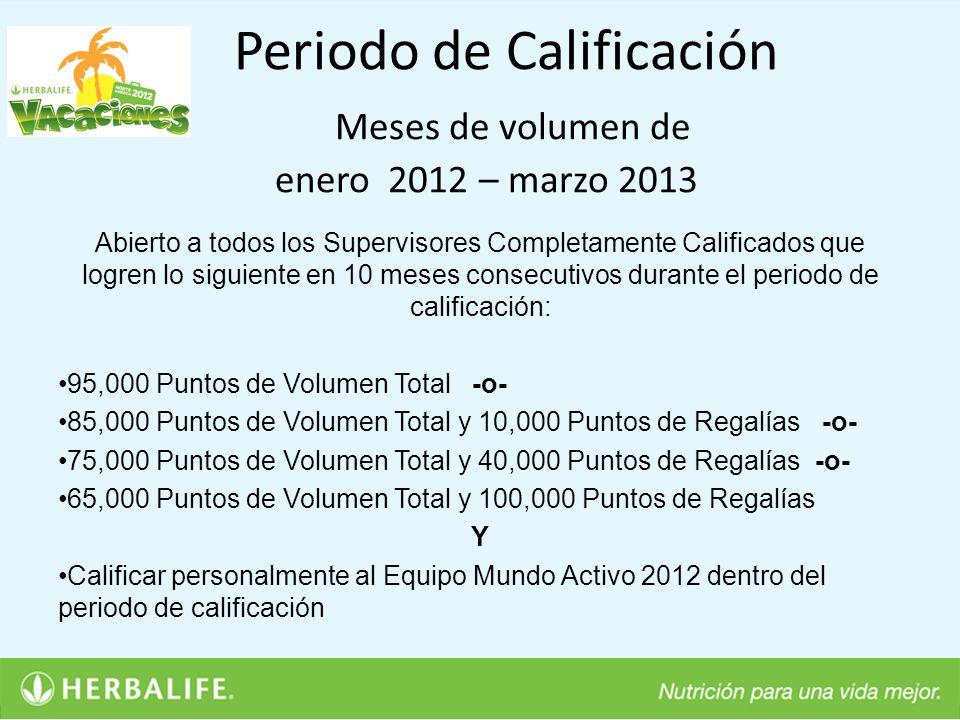 Periodo de Calificación Meses de volumen de enero 2012 – marzo 2013