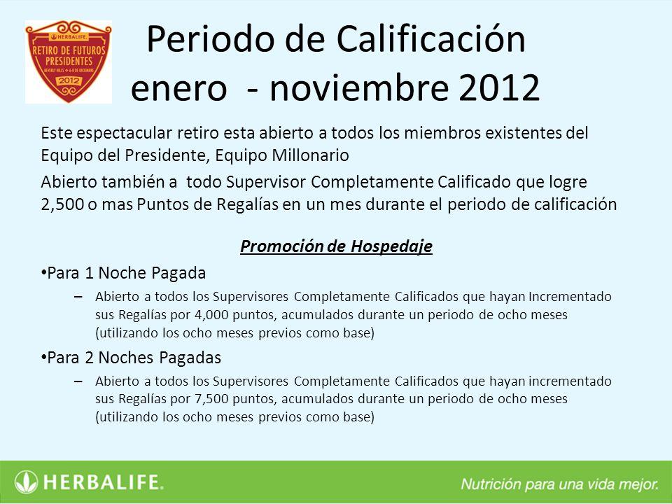 Periodo de Calificación enero - noviembre 2012